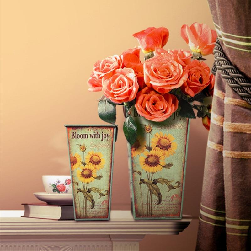 Pastoral Style Iron Flower Tub Artificial Flower Quartet Tin Bucket ...