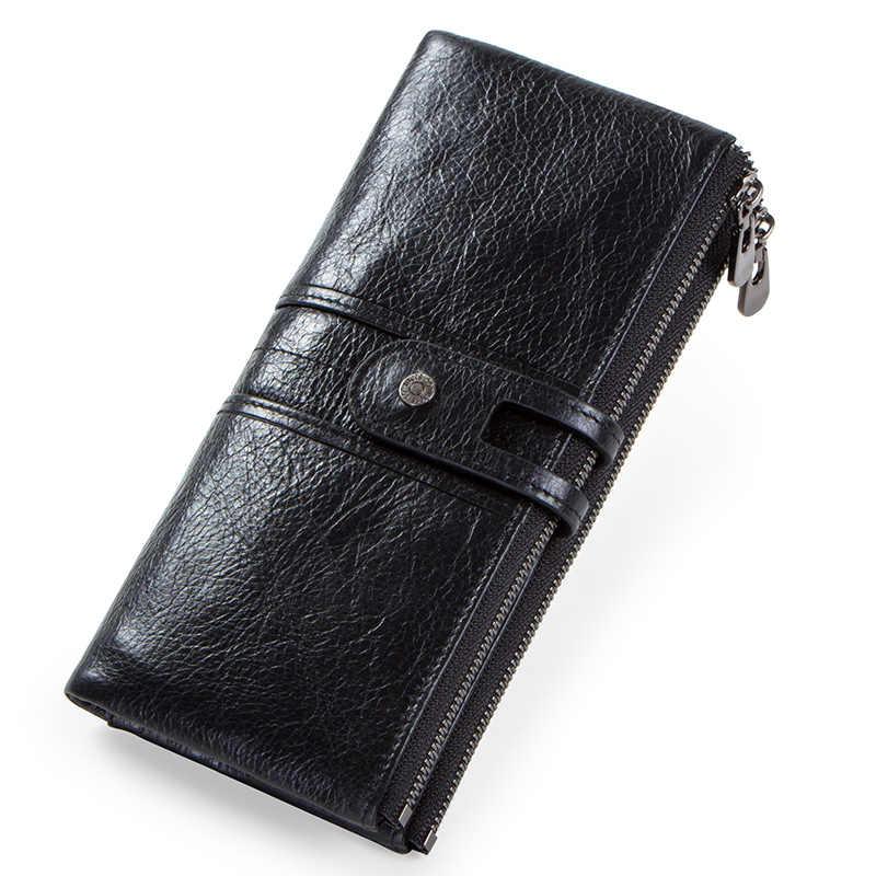 Cartera larga de cuero genuino para hombre, cartera para mujer, cartera con tarjetero, embrague con bolsillo para monedas, bolsa de dinero para teléfono para hombre carteras
