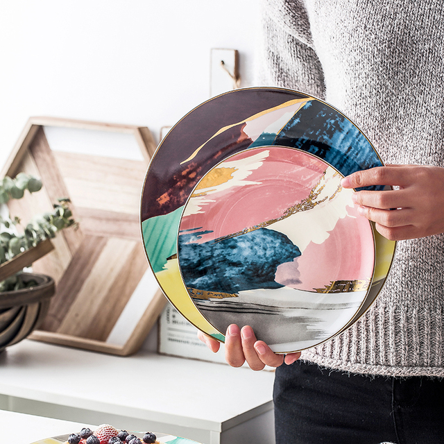 Watercolor Painting Round 8/10 inch Ceramic Plates Set 4 styles