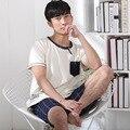 2017 algodão simples moda verão curto-de mangas compridas dos homens shorts casual confortável pijama em casa