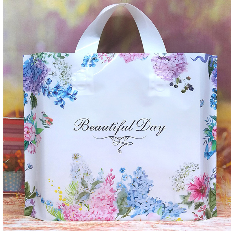 50pcs Floral Thick Plastic Carry Bag Wedding Party Gift Bag Shopping Bag