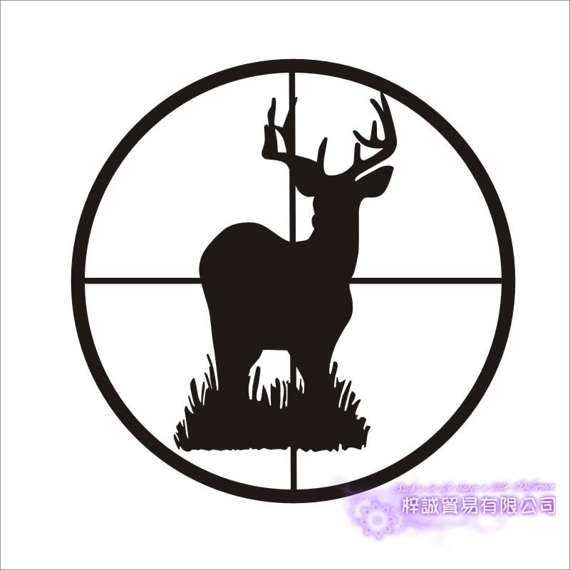 Deer Hunting Season Jumping Buck in Cross-Hair Scope Vinyl Car Decal