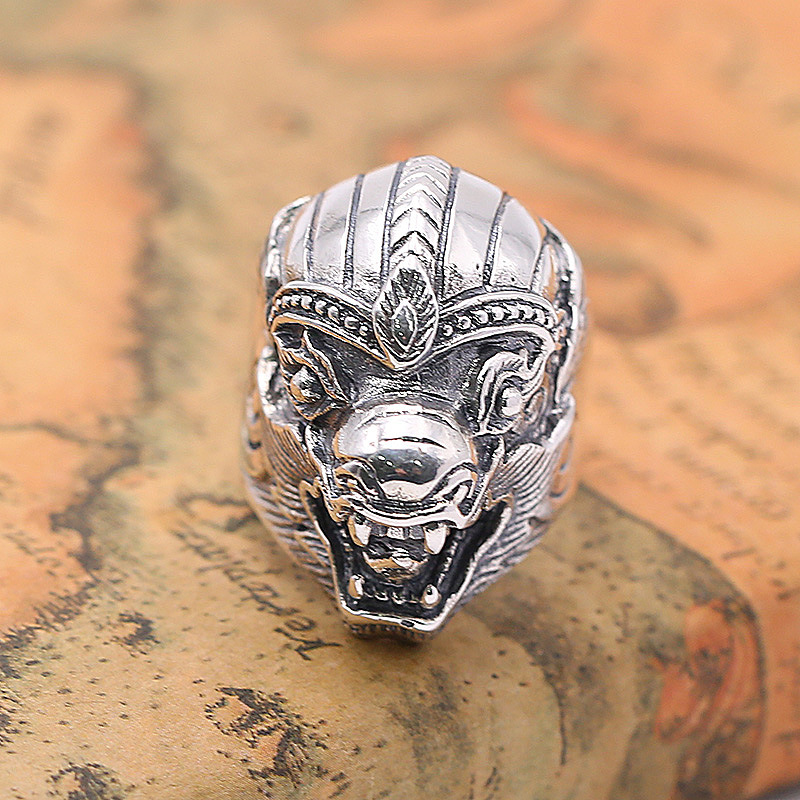 FNJ 925 Silver Pixiu Ring Skull Punk New Fashion Jewelry Original S925 Sterling Silver Rings for Men Size 8-11.5 bagueFNJ 925 Silver Pixiu Ring Skull Punk New Fashion Jewelry Original S925 Sterling Silver Rings for Men Size 8-11.5 bague