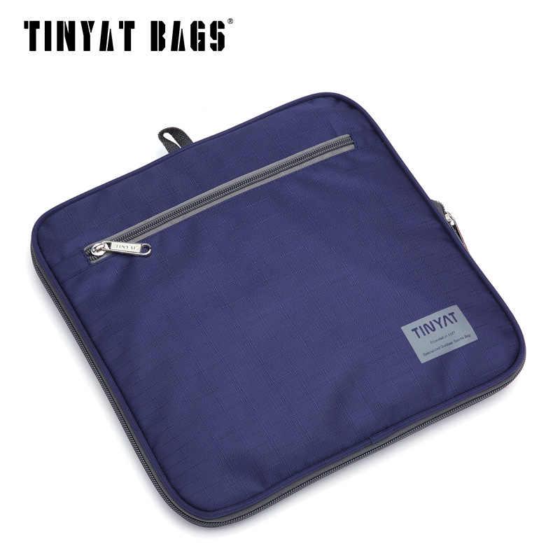 TINYAT ผู้ชายกระเป๋าเดินทางผู้ชายกระเป๋าพับแบบพกพา MOLLE ผู้หญิงกระเป๋าถือไนล่อนกันน้ำกระเป๋าเดินทางสีดำกระเป๋าเดินทาง T-306