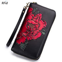 Fashion RFID Women Hand Painted Peony Long Wallets Lady Cow Leather Card Holder Passport Coin Pocket Wrist Strap Clutch Gift