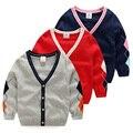 Bebê menino cor sólida camisola de outono 2016 das crianças cardigan de manga longa bebés meninos camisolas crianças casuais Com Decote Em V cardigan tops