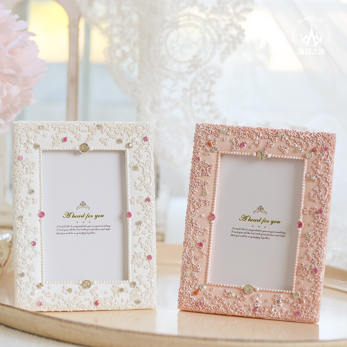 Korean Lace Picture Frame 5 Inch Photo Frame White Pink