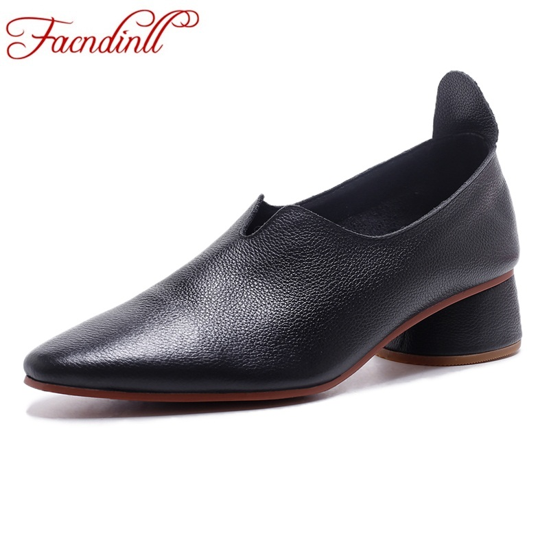 FACNDINLL women pumps shoes 2018 new spring summer fashion med heels round toe shoes woman dress casual shoes genuine leather facndinll shoes 2018 new fashion genuine leather women pumps med heels pointed toe shoes woman dress party casual black pumps