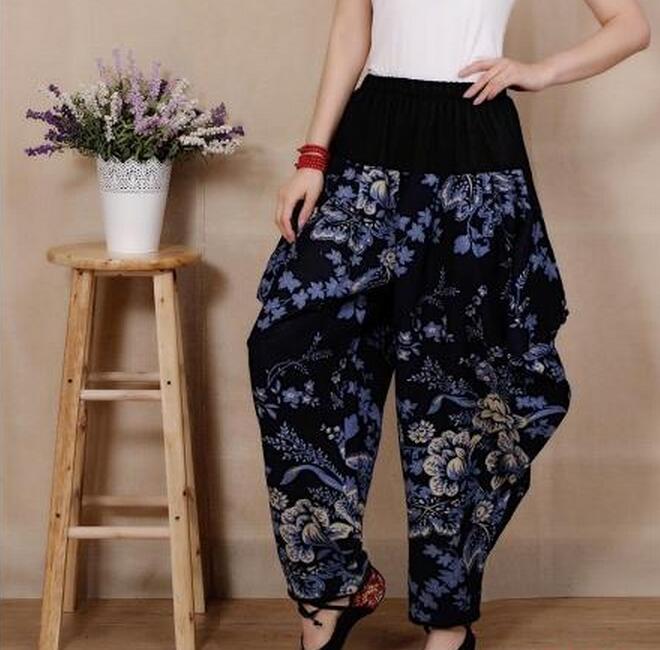 Pantalón multiple Ancho De Las Dividido Caliente Mujeres Moda verano 2019 Nuevas Negro Floral Falda Primavera azul Gasa OwxFxadq7