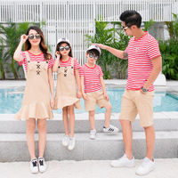 Family Set 2pcs Stripe T shirts+Overall Family Clothes Mom And Daughter Bib Pants Dad And Son Shorts Family Matching Clothes