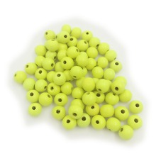 8mm Fine Quality Fluorescent Yellow  Round Wood Spacer Beads For Bohemia bracelet necklace Making 100pcs