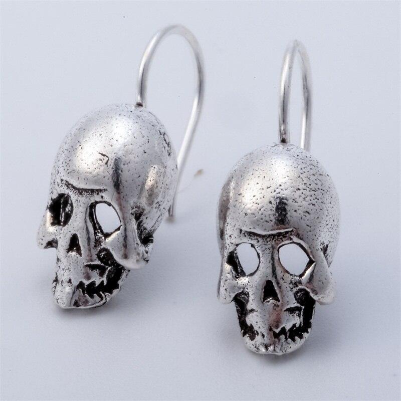 925 Sterling Silber Schädel Skeleton Baumeln Ohrringe Biker Schmuck Geschenke für Frauen Frau Ihre Freundin Mädchen Dropshipping