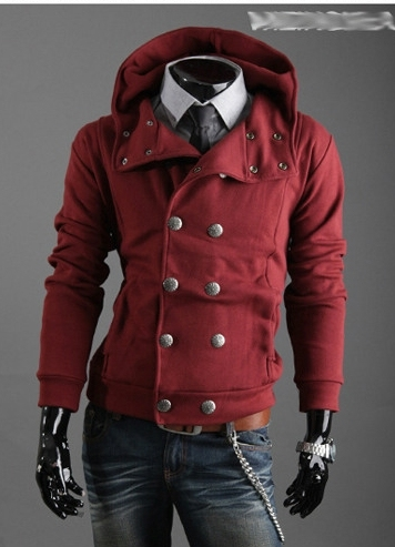 2016 Spring and Autumn new men's hooded sweater men's casual fashion double-breasted jacket trend slim fit overcoat