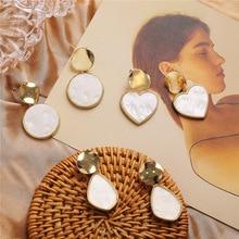 2019 simple sequin earrings creative retro acrylic pendant round metal drop bride wedding