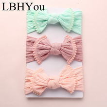 1PC Cable Knit Bows Nylon Headbands,One Size Fit Most Wide Knot Bow Head Wraps Baby Girls Turban Hair Accessories With Pom