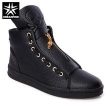 2019 New Men PU Leather Boots Skull Design Young Man Fashion Sneakers Zip Closure Ankle High Casual Shoes Black White Size 39-44(China)