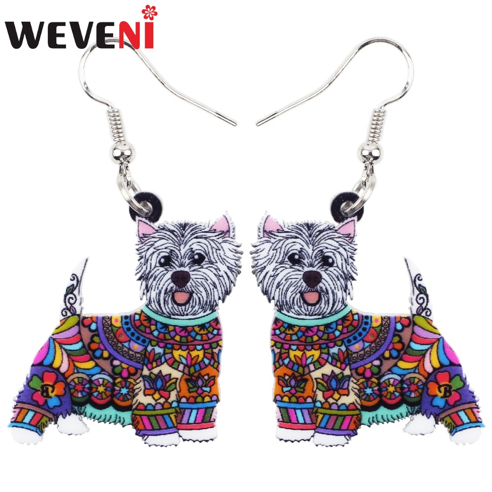 WEVENI Big Animal Acrylic Stud Dangle Drop West Highland White Terrier Long Earrings 2018 <font><b>News</b></font> Trendy Jewelry For Girls Women image