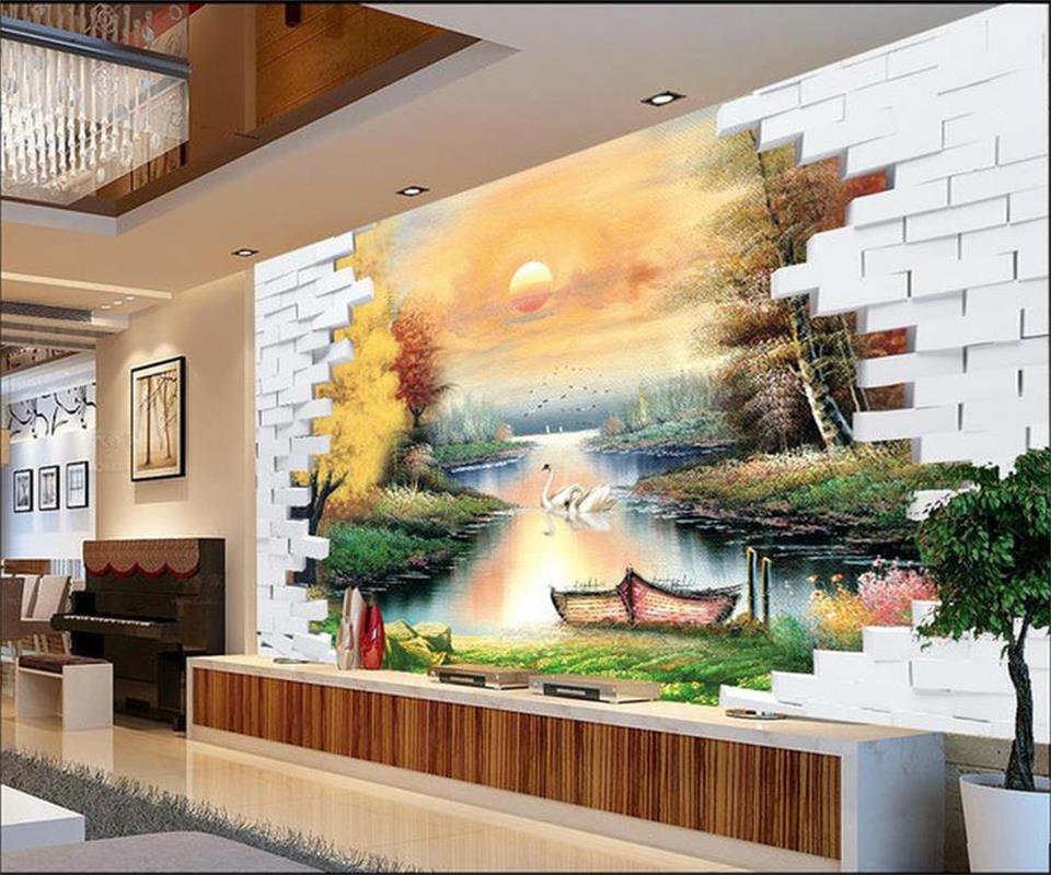 Custom 3d photo wallpaper room mural Brick ship sun river Fenglin oil painting sofa TV background non-woven HD photo wallpaper
