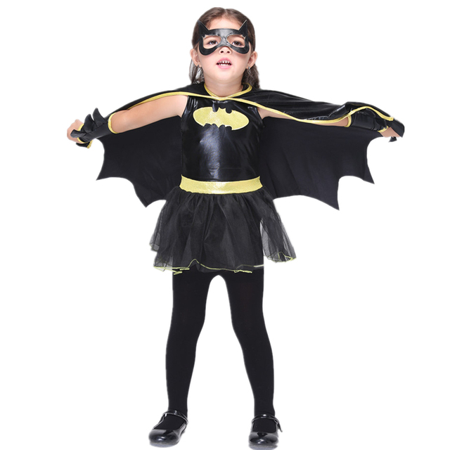 48636c4ae94a5c 4 PC Noir Batgirl Tutu Robe Enfants Batgirl Costume pour Halloween Enfants  Super-Héros Batgirl