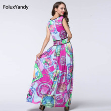Print Sleeveless Long Dress Summer Style Women Casual O-neck Dress Vestidos CMC07