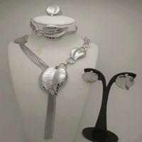 KINGDOM MA Nigerian Wedding African Beads Jewelry Set Women Silver Plated African Costume Jewelry Set Dubai Jewelry Sets
