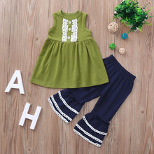 CHAMSGEND 2Pcs Girl Clothes Set Toddler Baby Girl Lace Top T-shirt Wide Leg Flared Bell Pants Lovely Girl Outfits Set 19June25(China)