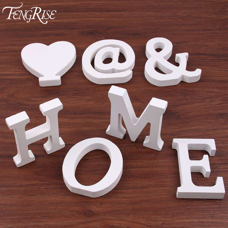 fengrise wedding decoration wooden letters white wood alphabet decorative crafts table numbers home birthday party supplies kids
