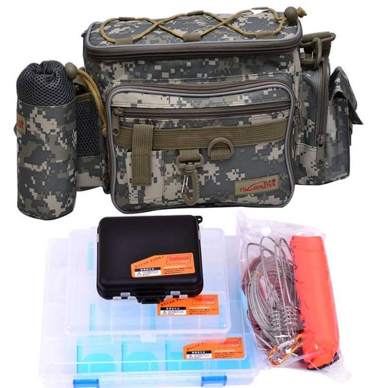 Trulinoya Multi-Purpose Fishing Bag 24*15 cm + Fish Lock + Lure Box + Accessories Box Style Fishing Bag Set Fishing Tackle best top quality fishing tackle box plastic handle fish box carp fishing lure tool fishing accessories case