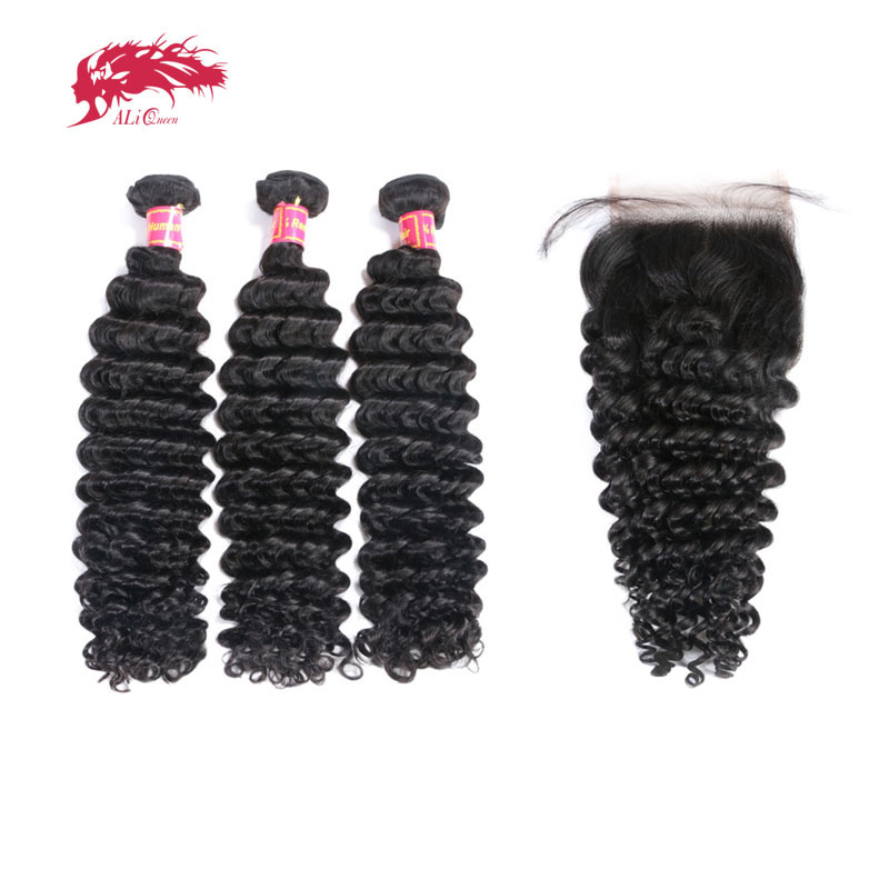 3Pcs Brazilian Deep Wave Hair With Swiss Lace Closure Free Part 8-30inches Ali Queen Hair Products Remy Human Hair