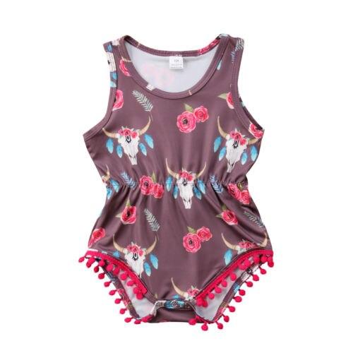 Для новорожденных девочек скот черепа одежда комбинезон боди без рукавов сарафан наряды Размеры 0-24 м