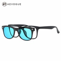 AEVOGUE Magnetic Clip Polarized Sunglasses Mens Optiacal Myopia Glasses Unisex Plastic Titanium TR90 Frame With Box