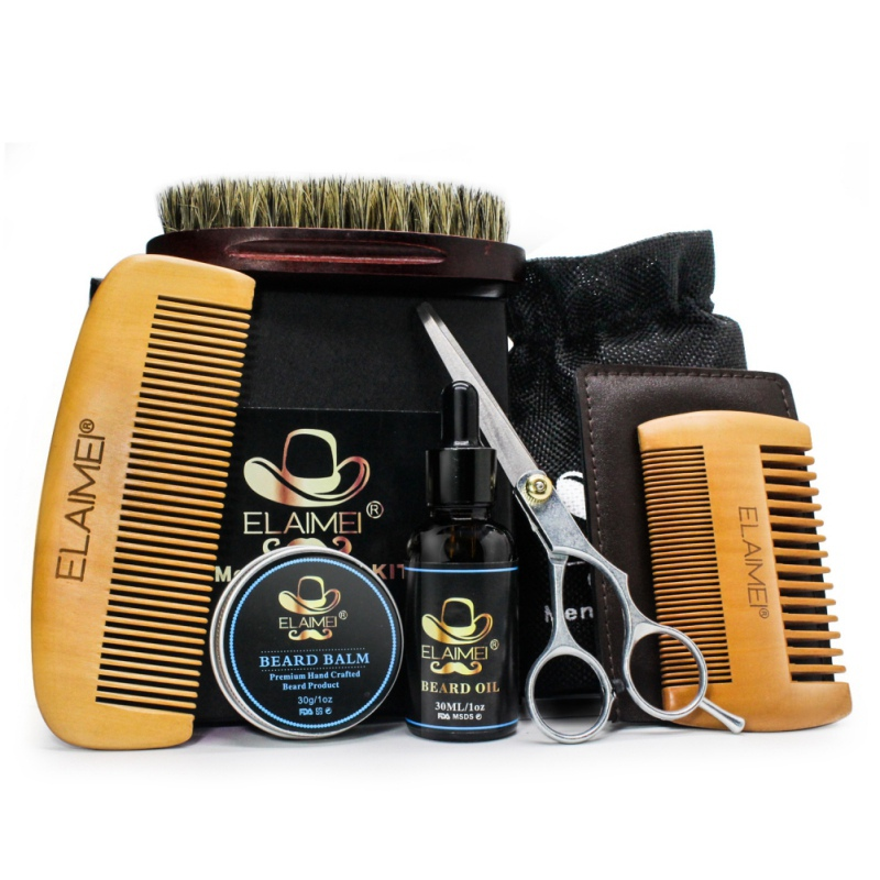 Beard Hair Care Set Beard Oil Comb Brush Whiskers Scissor Styling Tools Kit Easy To Use One Set For Men