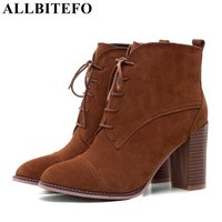 ALLBITEFO Large Size 33 42 Nubuck Leather Square Toe Thick Heel Women Boots High Heels Ankle