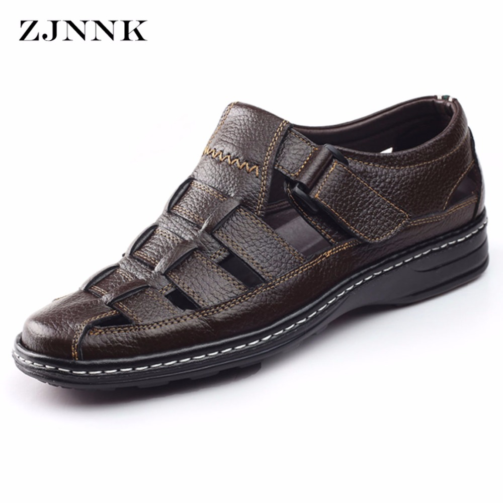 ZJNNK New Men Sandals Made Of Cow Leather Black Brown Hand Sewing Male Summer Shoes Breathable
