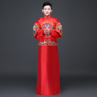 Rouge Traditionnel Chinois Clothing Hommes Cheongsam Marié De Mariage Costume Hanfu Tang Costume Mandarin Veste Dragon Phoenix Robe Robe