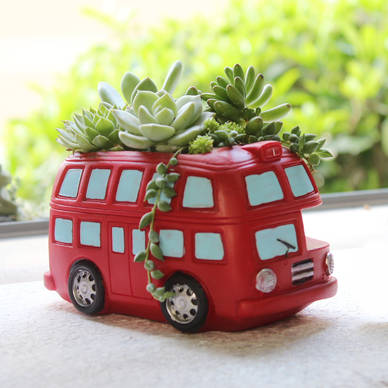 1 piece Zakka Creative Flowerpot Retro Cars Planter Resin Garden Succulent Plants Bonsai Flower Pot Decoration indoor macetas