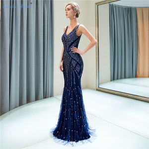Image 3 - ספיר כלה 2019 הגעה חדשה Vestido דה Festa נוצץ בת ים כחול כהה ענק חרוזים סקסי V צוואר ארוך ערב שמלות