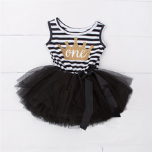 Baby Girl Clothes 2018 Girls Dresses Kids Princess Crown Print Dress For First Birthday Party Tutu Dress Children Kids Clothing