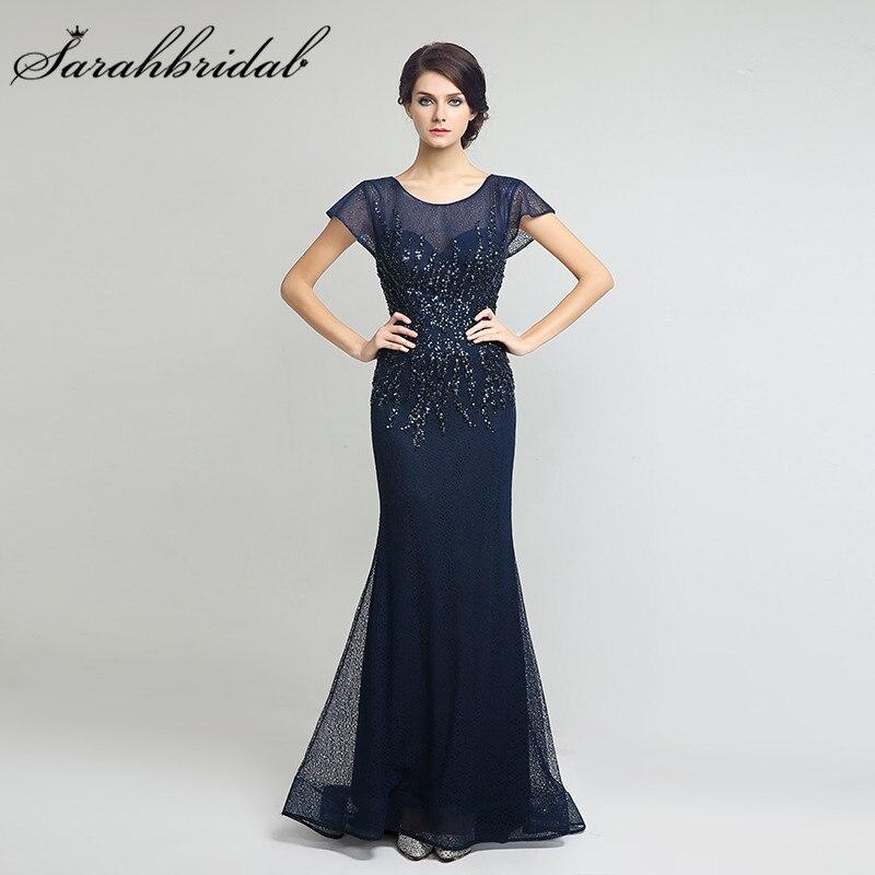 Elegant Lace Sleeve Short Wedding Dresses 2016 Scoop Neck: Elegant Navy Blue Lace Mother Of The Bride Dresses Scoop