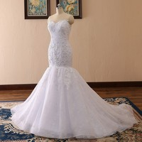 Vestidos De Novia Sweetheart Lace Mermaid Wedding Dress With 3D Lace Appliques Pearls Robe De Mariee