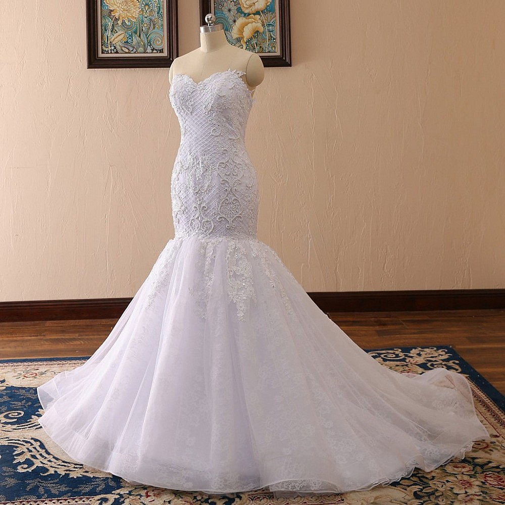vestidos de novia sweetheart lace mermaid wedding dress with 3d lace appliques pearls robe de