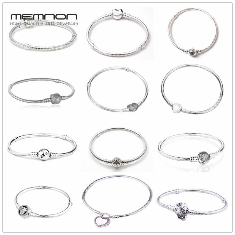 Memnon 925 muitos tipos de Pulseiras de prata esterlina jóias finas para mulheres encantos fit beads DIY pulseira cadeia de cobra de prata YL001