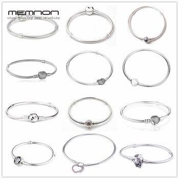 7c544bd2124e Memnon de Plata de Ley 925 joyería fina muchos tipos de pulseras para las  mujeres encantos granos DIY pulsera de cadena de serpiente de plata YL001