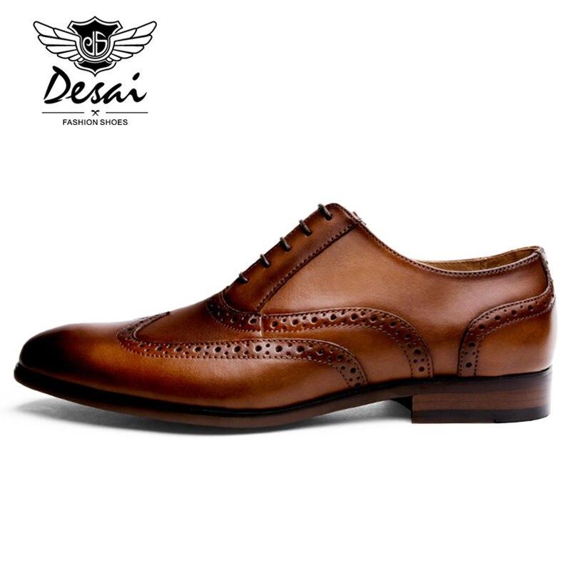 Ayakk.'ten Erkek Rahat Ayakkabılar'de DESAI Marka Tam Tahıl Deri Erkek Oxford Ayakkabı İngiliz Tarzı Retro Oyma Bullock Resmi Erkek Elbise Ayakkabı Boyutu 38  47'da  Grup 3