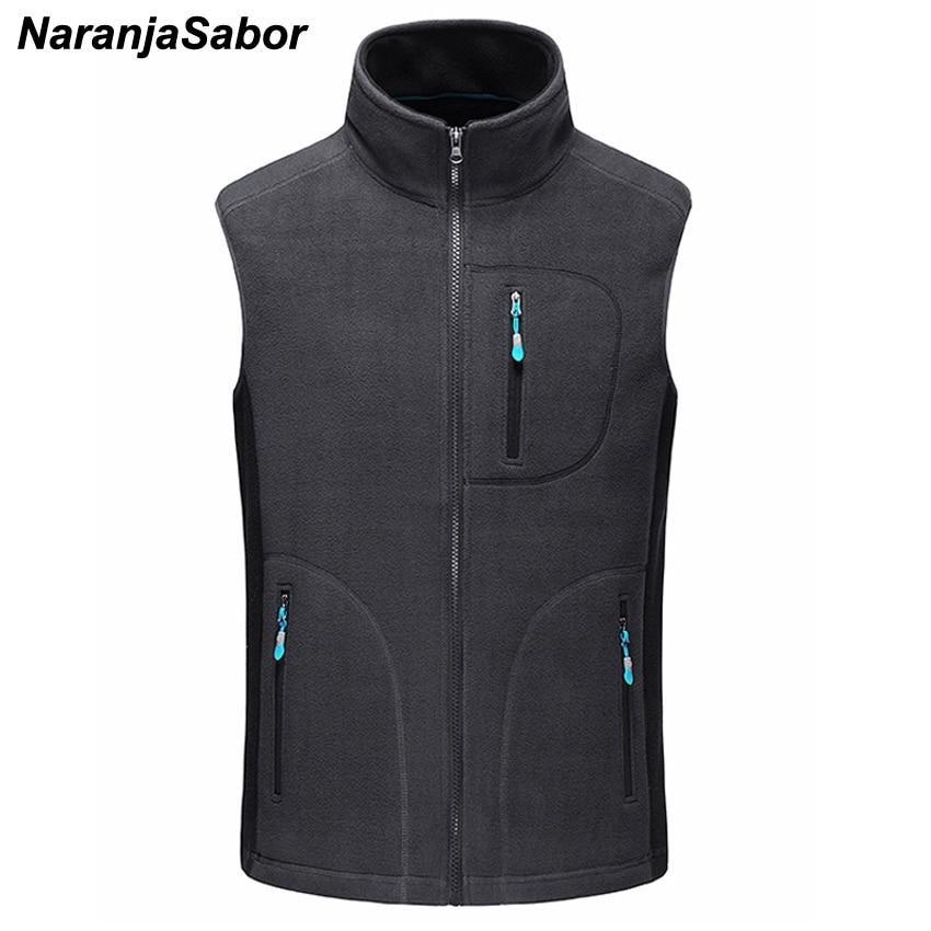 NaranjaSabor Men's Autumn Winter Fleece Softshell Vests Warm Waistcoat Mens Casual Sleeveless Outwear Jacket Male Brand Clothing