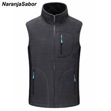 NaranjaSabor chalecos Softshell de lana para hombre, chaleco cálido, informal, sin mangas, prendas de vestir, chaqueta, ropa de marca