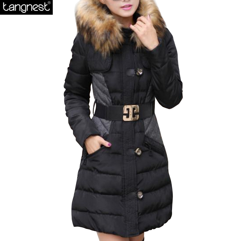 ФОТО TANGNEST WINTER THICK Overcoat 2017 Faux Fur Hooded Long Women Parka Sashes Slim Warm Down Cotton Blends Casual Coat WWM1348