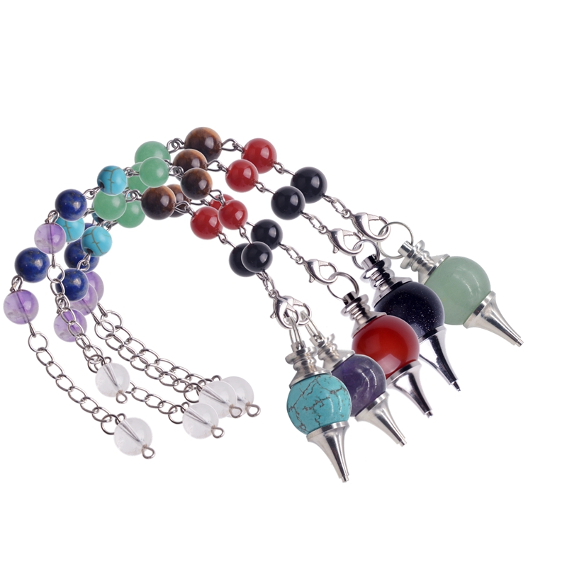 7 Chakra Stone Pendulum Healing Crystal Quartz Pendulum Necklace Spirituality Yoga Jewelery Woman  Men gift