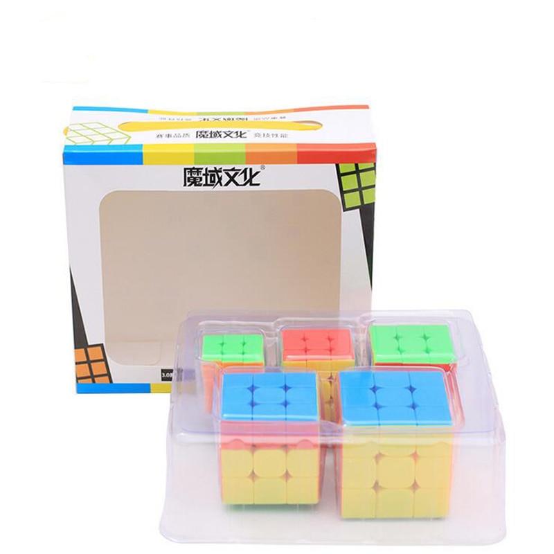 MoYu 5Pcs/set Cubing Classroom MF9304 Mini 3x3 Magic Cube Fluorescence Six-color Gift Box Series Keychain Magic Cube