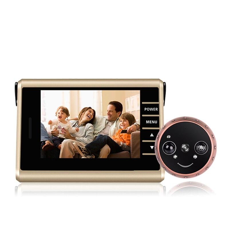HD Tela Colorida Câmera Olho Mágico Da Porta de Gravação De Vídeo Auto Inteligente Sensor de Movimento PIR Câmera Campainha Da Porta de Vídeo Olho Mágico Inteligente